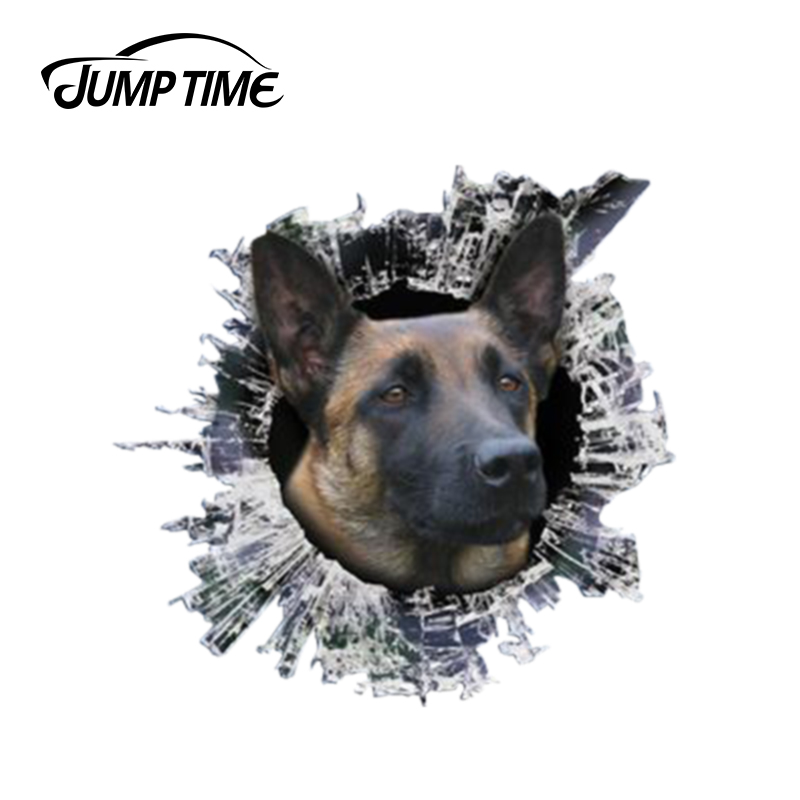 Jump Time 13cm X 12.2cm 3D Belgian Malinois Window Decal Glass Slag Decal Reflective Stickers Waterproof Car Styling Dog Decals