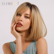 Element Synthetic Short Straight Ombre Golden Blonde Bob Wigs with Side Bangs for White/Black Women Heat Resistant Fiber Wig