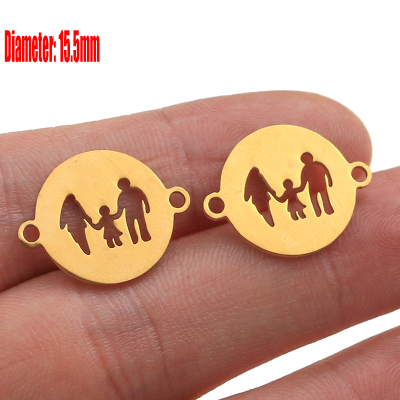 5pcs Family Chain Stainless Steel Pendant Necklace Parents and Children Necklaces Gold/steel Jewelry Gift for Mom Dad New Twice - Цвет: Gold 43
