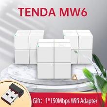 Rede nova tenda mw6 toda a casa malha gigabit wifi roteador sistema 11ac daul banda 2.4g/5.0ghz wi-fi repetidor, app controle remoto