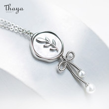 Thaya Original Design Bow Necklace For Women 100% S925 Silver Olive Branch Collarbone Chain Pendant Nacklace Girl Jewelry Gift