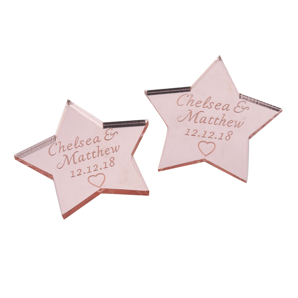 10pcs Personalized Engraved Mirror Star Wedding Tags Rose Gold