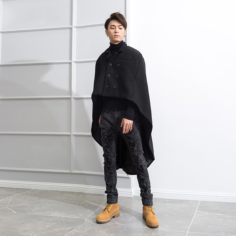 Suit Collar double-breasted swallow-tailed Cape Front and back short over knee long winter tide men's coat wool coat Cape