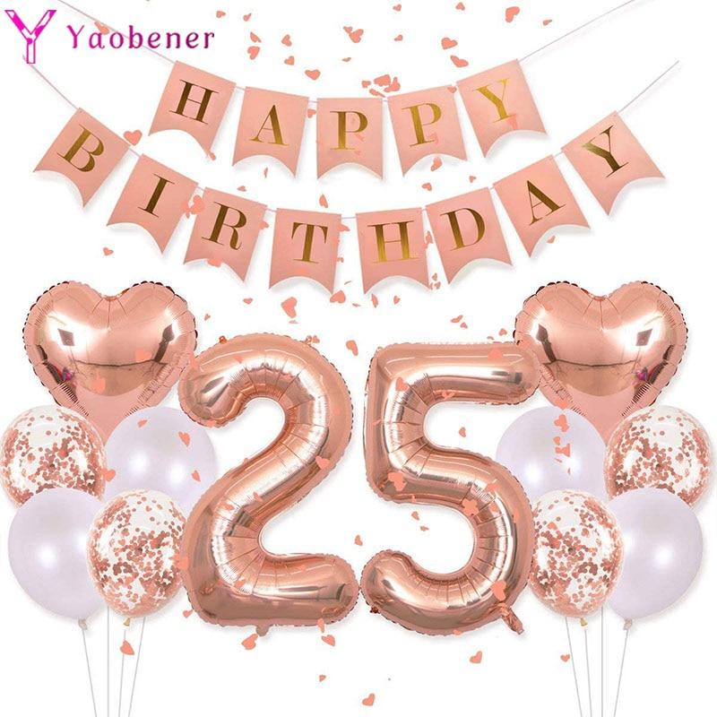 Аксессуары для 25 лет на день рождения, конфетти, баллоны с гелием, 25 дней рождения, украшения для взрослых