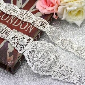 Image 4 - SUNSPICEMS серебряный цвет R металлическая цепь пояс для женщин марокканский кафтан пояс Европейский свадебный банкет ювелирные изделия для тела подарок для невесты
