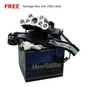 Image 5 - 強力な 9 LED USB ヘッドランプ 25000 Lm XML T6 Q5 Led ヘッドトーチ額ライトフロント懐中電灯 18650 ヘッドライト + USB ケーブル