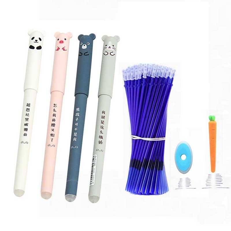 26Pcs/Lot Cute Animals Erasable Pen Refill Set Washable Handle 0.35mm Blue Ink Erasable Rods Ballpoint Pen For School Stationery