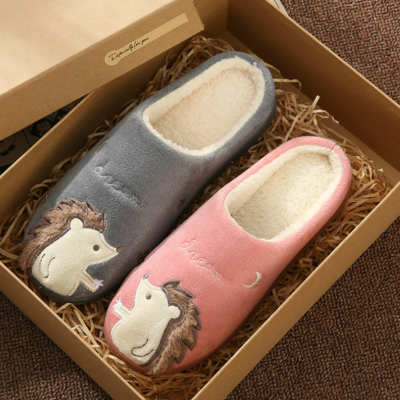 Women Girls Cartoon Cat Winter Home Faux Fur Casual Slippers Keep Warm Loafers Non-Slip Indoors Antiskid Soft Comfy Bedroom Floor Shoes
