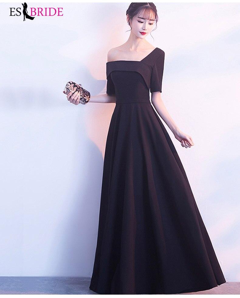 ES2769 Formal Dresses Evening Gown Black Satin Evening Dress Vestido De Festa Robe Longue Prom Gowns Formal Party Dress