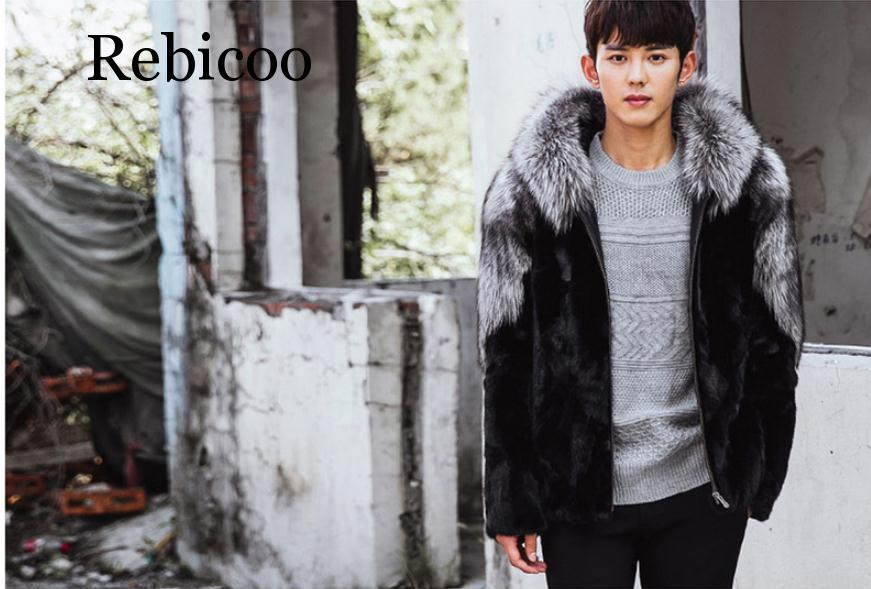 Rebicoo 2019 new mens faux fur coat stitching hooded winter autumn warm XL