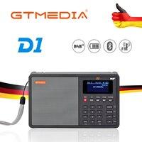 Gtmedia d1 라디오 dab +/tf/aux 미니 휴대용 라디오 휴대용 디지털 fm usb tf mp3 플레이어 스피커 충전식 18650 배터리