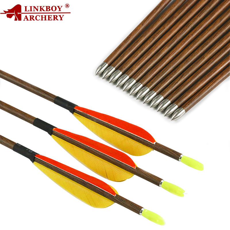Linkboy Archery 6/12pcs Wood Skin Pure Carbon Arrows ID4.2mm SP600-800 3