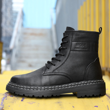 New Trend Spring Autumn Boots Men Snow Boots Genuine Leather Mens Outdoor Boots Punk Motorcycle Man Shoes Thick Heel Adulto Shoe