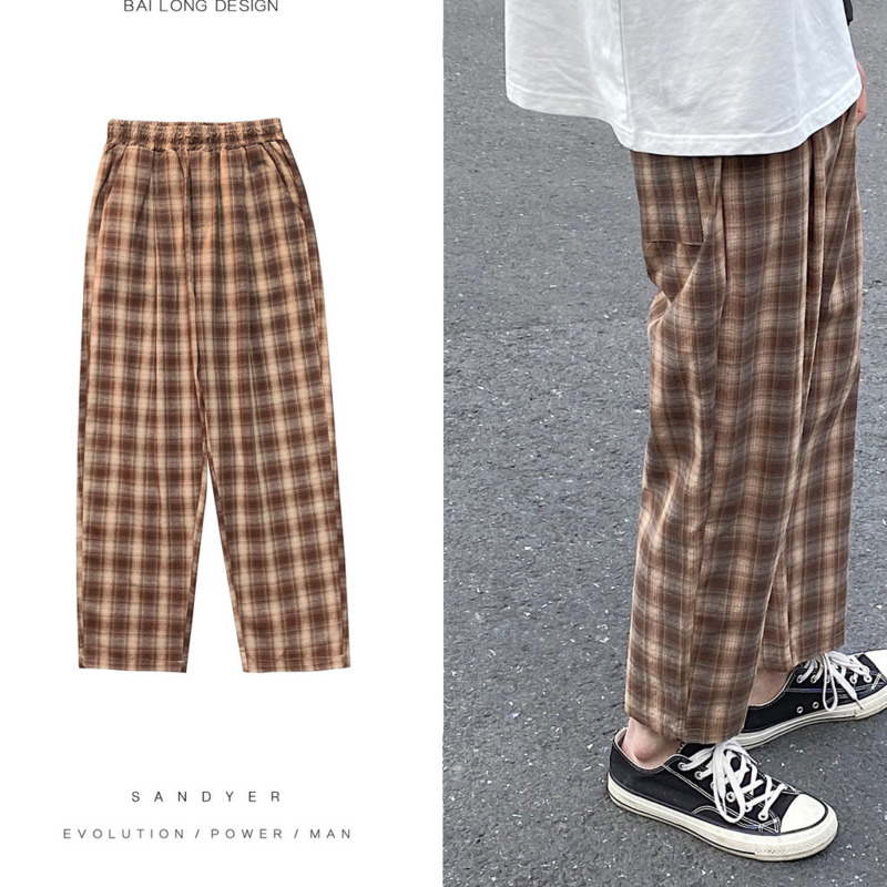 Men's Casual Pants 2020 Spring And Summer New Solid Color Lattice Cotton Loose Cropped Pants Young Fashion Men's Clothing