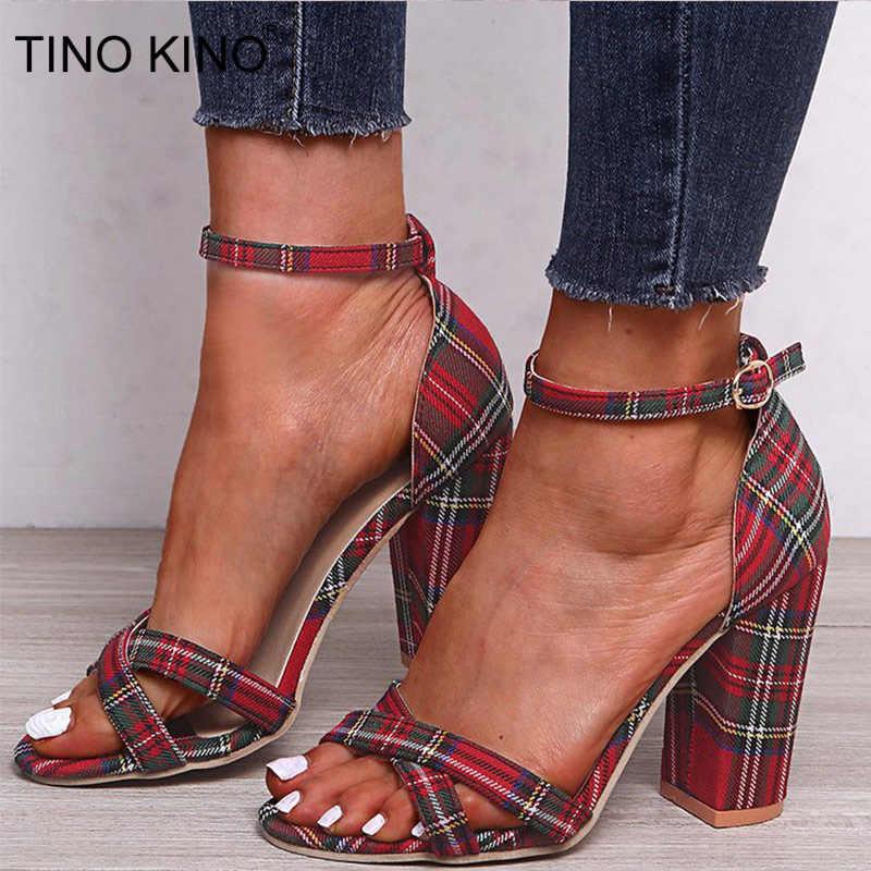 Vrouwen Buckle enkelband sandalen Summer Ladies Plein High Heel Gingham Pompen Vrouw open teen schoenen elegante vrouw Fashion