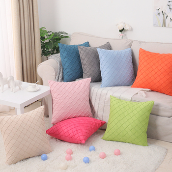 Suede Gingham Embroidery Pillow Case Plain Color Home Decor Pillow Cover 45x45 Bedding Living Room Bolster Cases for Sofa Chair image