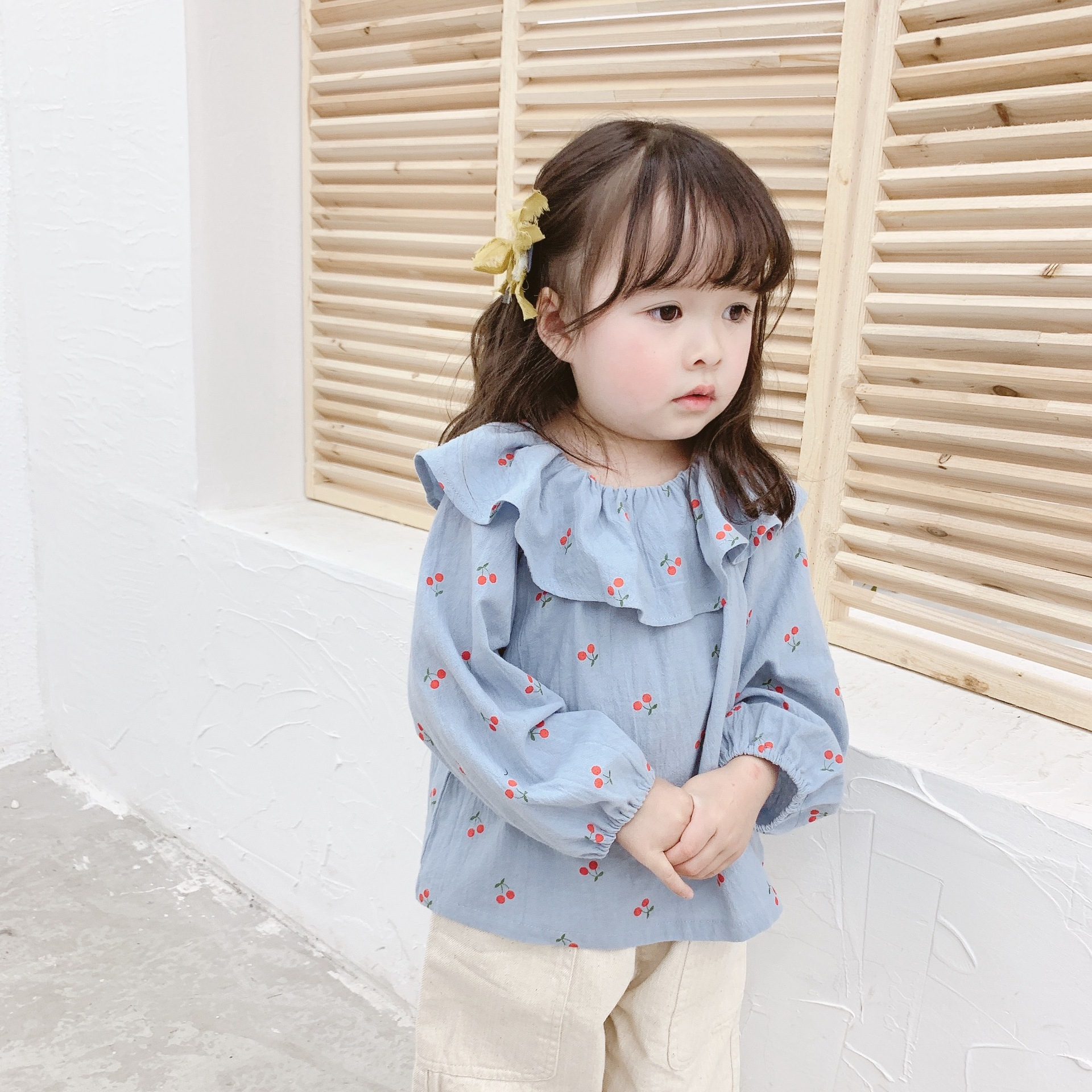 2019 Autumn Childrenswear New Style Girls Korean-style Cherry Printed Large Lapel Shirt 19024