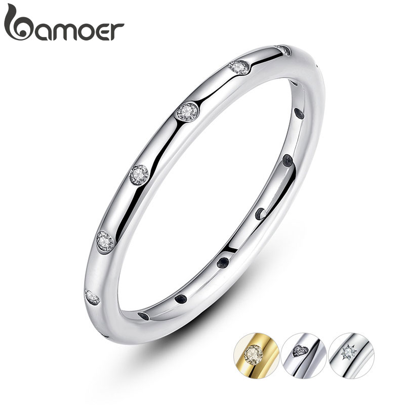 BAMOER 2 Colors 925 Sterling Silver Droplets Stackable Finger Classic Ring for Women