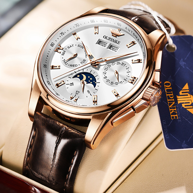 OUPINKE Men Mechanical Watch Luxury Automatic Watch Leather Sapphire Waterproof Sports Moon Phase Wristwatch Montre homme 1