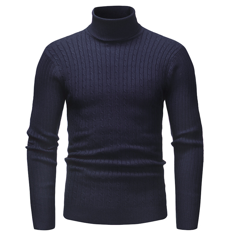 Helisopus Turtleneck Warm Mens Sweaters Winter Brand Solid Color Slim Fit Pullover Plus Size Casual Knitwear Tops