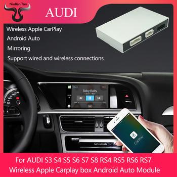 Bezprzewodowy Apple Carplay pudełko Android Auto moduł dla Audi S3 S4 S5 S6 S7 S8 RS4 RS5 RS6 RS7 MMI2 -3G RMC MIB system multimedialny tanie i dobre opinie CN (pochodzenie) Jedno złącze DIN 6 5 aluminum 1080*1920 480g bluetooth Telefon komórkowy Sterowanie wspomaganiem kierownicy