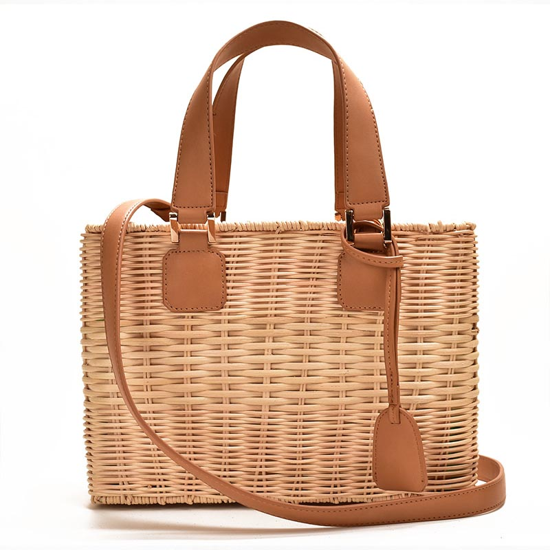 Famous Brand Women Bamboo Straw Rattan Bag Ladies Hand Leather Bags 2020 Fashion Luxury Messenger Bags