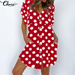 Celmia Sexy Mini Dress Women Polka Dot Print Summer Sundress Fashion Short Sleeve Casual Button V neck Bohemian Beach Vestidos