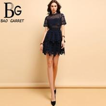 Baogarret Summer Fashion Runway Designer Dress Womens Short Sleeve Floral Embroidery Hollow Out Elegant Vintage Dresses