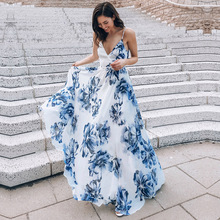 Floral Print Strapless Sexy Maxi Dress Women Sleeveless V-Neck Backless Dresses Femme Holiday Bow Elegant Party Club
