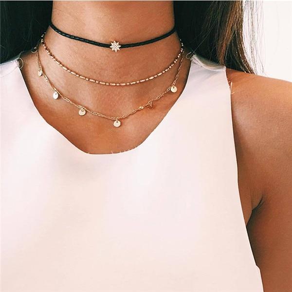 17KM богемное золотое ожерелье s для женщин монета Сердце цветок звезды колье кулон ожерелье этнический многослойный женский ювелирный подарок - Окраска металла: CSF329