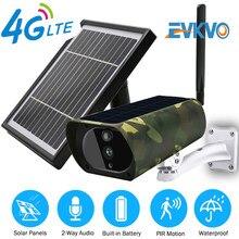 EVKVO Solar Cámara tarjeta SIM 4G IP Cámara 3MP HD batería CCTV Cámara cámara de seguridad para el hogar al aire libre caja de Metal de movimiento PIR P2P