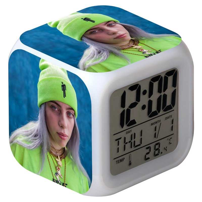 Billie Eilish Gambar Sticker Jam Alarm LED Colorful Flash Touch Desk Lampu Malam Kubus Bercahaya LED Clock Rumah