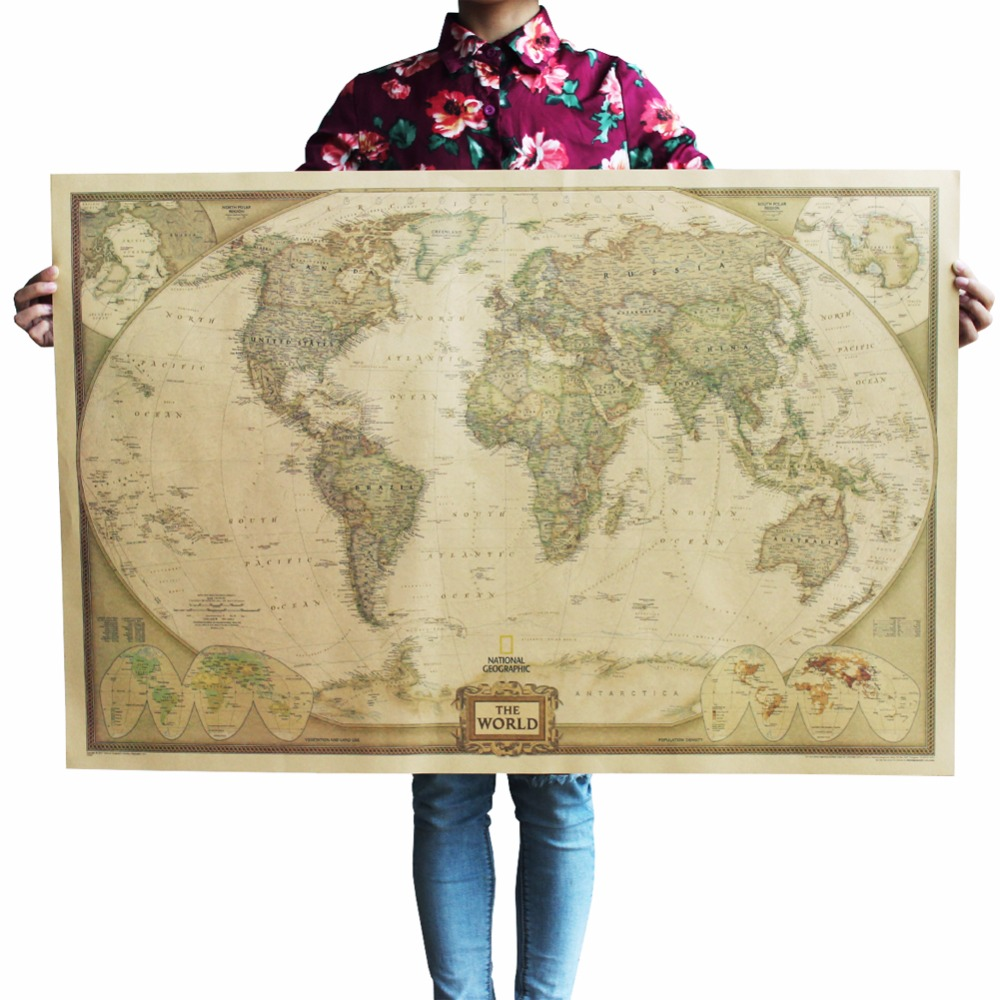 1 Pc Of Classic Retro Kraft-Paper The-World Map For School And Office