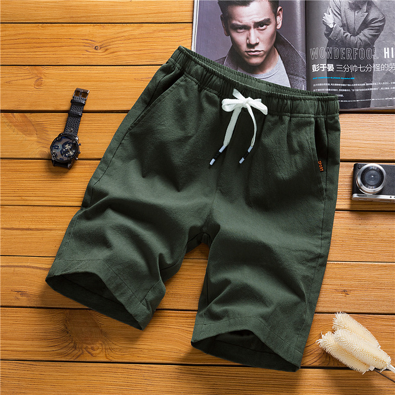 Youth Shorts Male Fifth Pants Fashion Slim Fit Casual Men Army Green Shorts 5 Pants Large Size