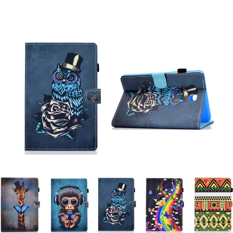 PU Leather Flip Shell Case For Samsung Galaxy Tab A 8.0 2015 Version T350 T355 P350 P355 P355C Cute Pattern Tablet Stand Cover