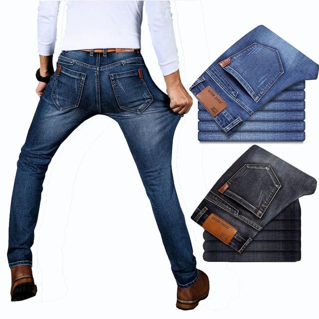 Spring Autumn 2021 Men's Smart Elastic Jeans Business Fashion Straight Regular Stretch Denim Trousers Men Jeans Plus Size 28-40 2