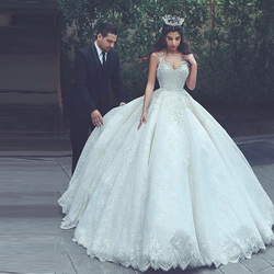 Latest Muslim Bride Lace Ball Gown Wedding Dresses 2019 Spaghetti Straps V Neck Lace Up Back Bridal Wedding Gowns Plus Size