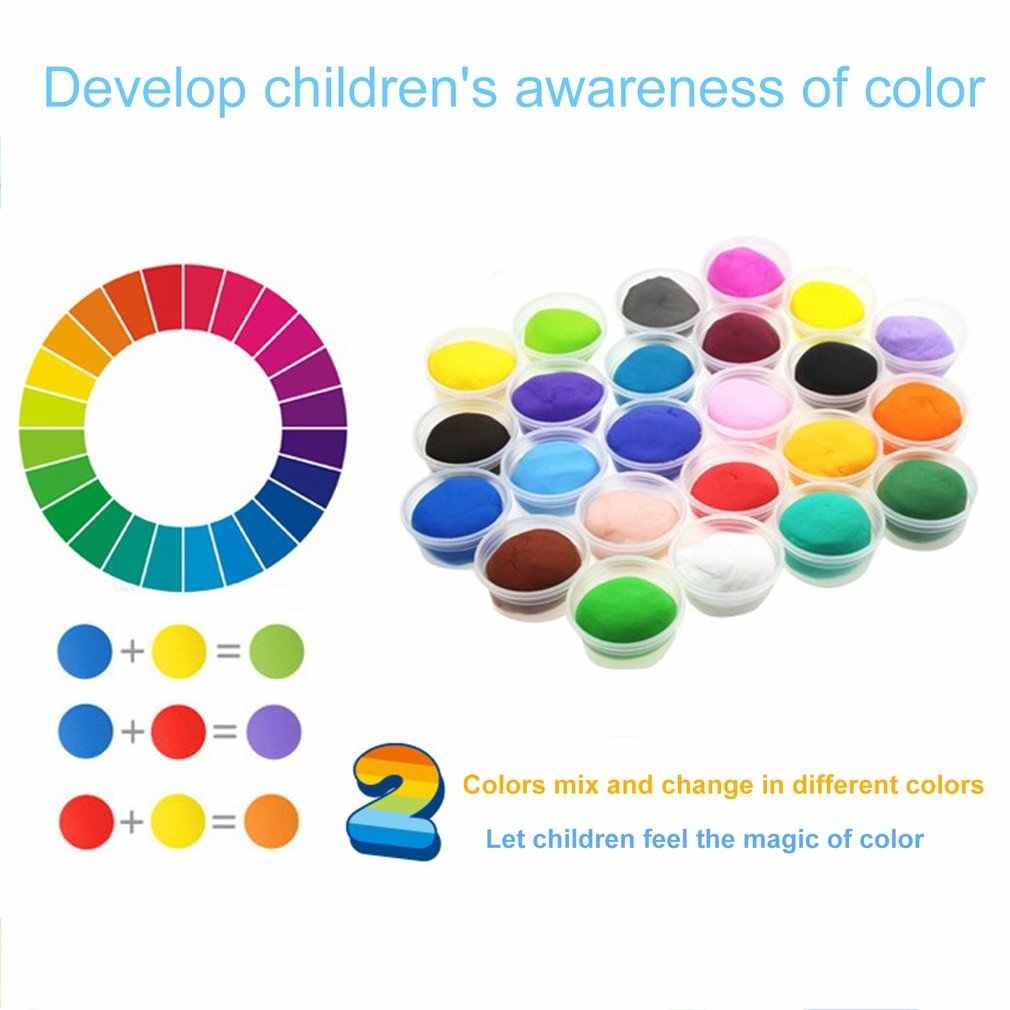 24 Warna Super Light Clay Udara Pengeringan Lembut Polimer Tanah Liat dengan Alat Anak-anak Pendidikan DIY Plasticine Slime Mainan
