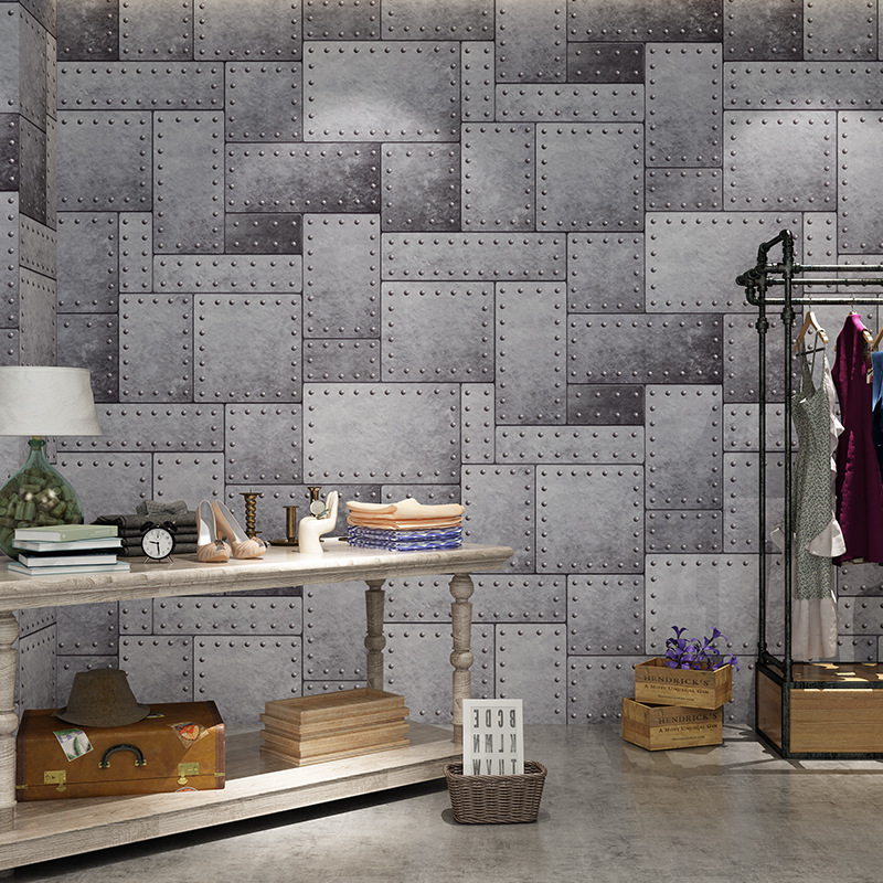 Cheng Shuo Wallpaper 3D Vintage Industrial-Style Loft Cement Wallpaper Retro Brick Pattern Bar KTV Clothing Store Wallpaper