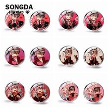 Earrings Cute Transparent Toilet-Bound Hanako-Kun Glass Small Jibaku Art SONGDA Round