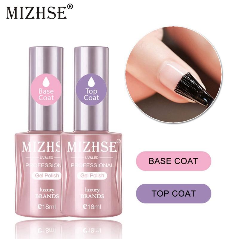 MIZHSE 18ML UV Gel Top Base Coat Set Varnish Nail Polish Nails Art LED Soak-Off lacquer Rubber No Wipe Lak