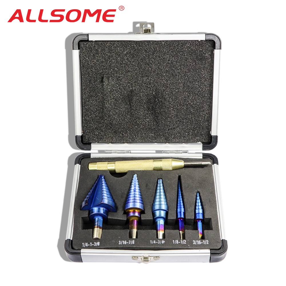 ALLSOME 6Pcs HSS Nano Blue Coated Step Drill Bit With Center Punch Set Hole Cutter Drilling Tool HT2887