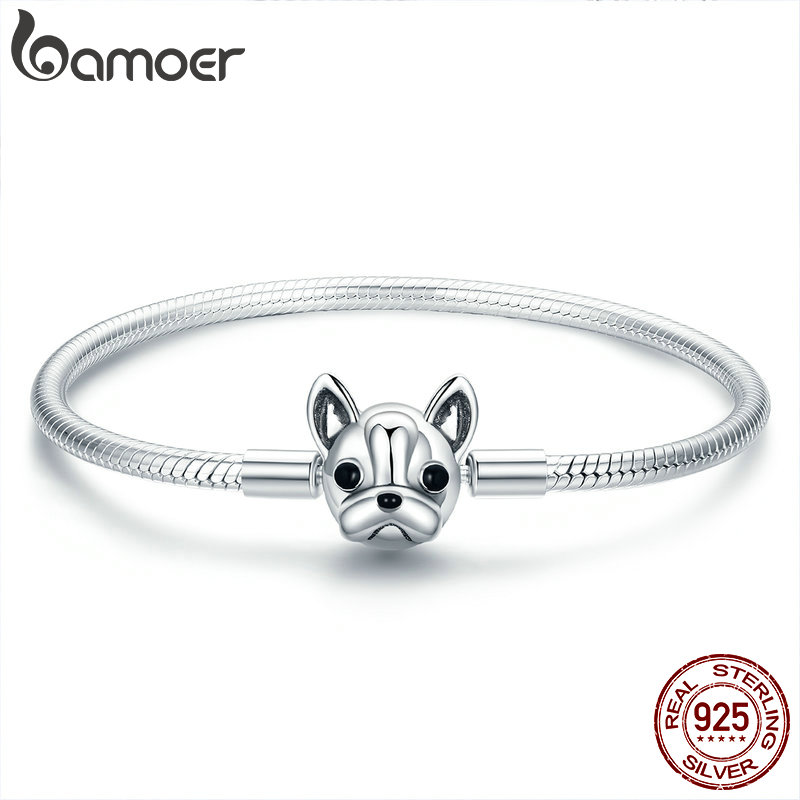 BAMOER 100% Genuine 925 Sterling Silver French Bulldog Doggy Snake Chain Women Bracelet & Bangles Silver Jewelry 17CM SCB075