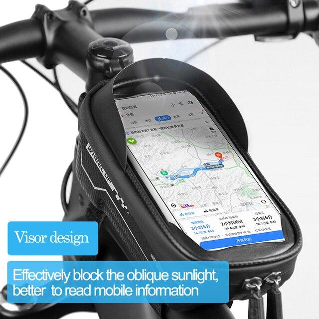 Newboler bolsa de ciclismo à prova de chuva, estojo para celular, touch screen, mtb, acessórios de bicicleta, para cano superior, refletor 2