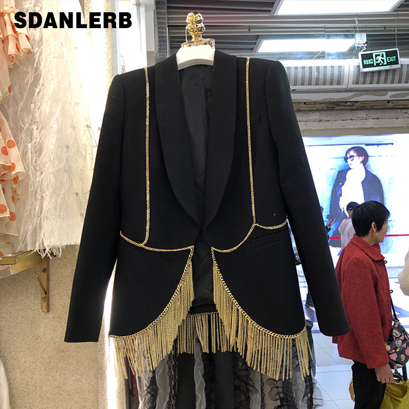 2020 Spring New Metal Chain Tassel Blazer Women Fashion Ol Small Suit Jacket Women's Etiquette Performance Clothing Jacket Coat