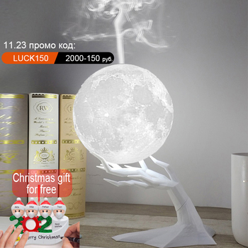 880ML Ultrasonic Moon Air Humidifier Aroma Essential Oil Diffuser LED Night Lamp USB Mist Maker Humidificador Christmas Gift - discount item  25% OFF Household Appliances