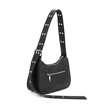 2020 New Nylon Women Baguette Bag Small Handbag England Style Ladies Shoulder Bag Designer Female Oxter Bag Chic Wide Strap
