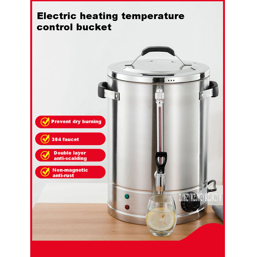 Stainless Steel Electric Hot Water Bucket Commercial Hot Water Bucket Large Capacity Insulated Barrel  220V  2500W  ws k20  30L Electric Kettles     - title=