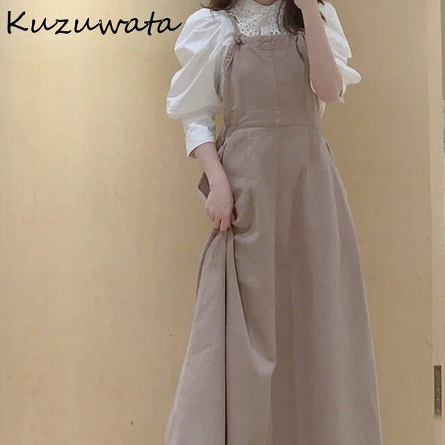 Kuzuwata High Waist Hip A Line Camis Dress Women Sexy Sleeveless Shoulder Strapless Denim Vestidos Summer 2021 New Slim Robe 3