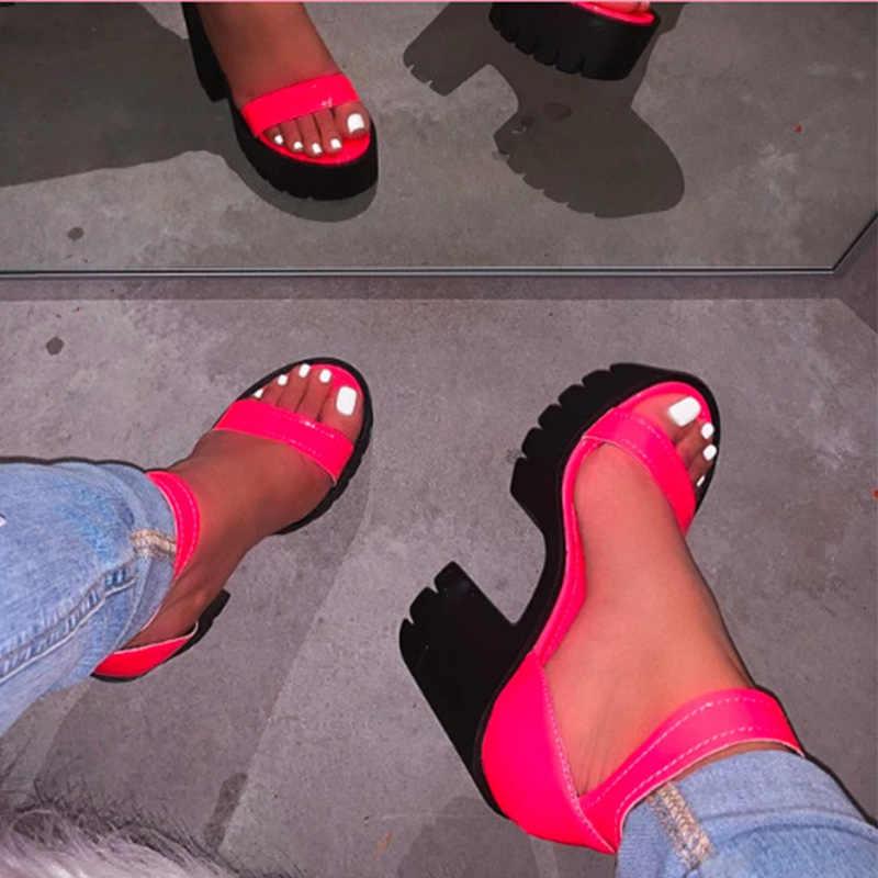 MCCKLE/Новинка; Женские летние босоножки на платформе; Женские босоножки ярких цветов с пряжкой на толстом высоком каблуке; Женская обувь с ремешком на щиколотке; Женские сандалии